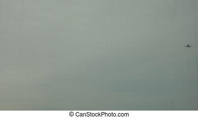 Plane flying over Frankfurt - Airplane flying over the...