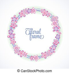 Spring circle frame with flowers and place for your text. Stylish circle frame can be used for greeting card, baby shower card, invitation, cover and more designs.