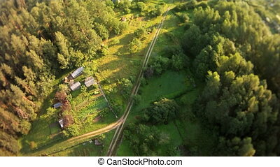 Countryside aerial landscape. - Sunny aerial landscape from...