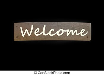 welcome sign metal copper plate isolated on black 3d illustration