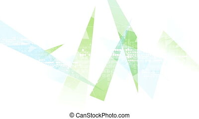 Green and blue geometric polygonal motion background. Video...