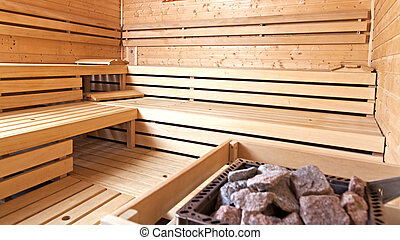 A dry Finnish sauna. - Sauna is used for relaxation of...