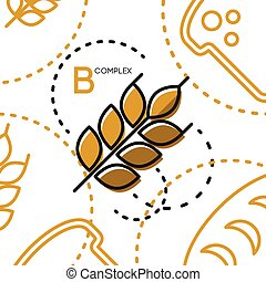 Healty food background representing. vitamin B wheat icon