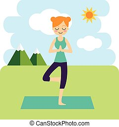 Vector illustration. Woman practicing yoga. - Vector...