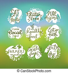 Healty food lettering set. - Healty food Healty food...