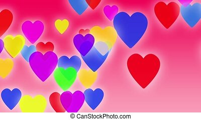 Hearts background animation. Colorful hearts slowly falling down on a pink background with particles flowing around