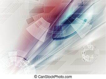 Sci-fi bright abstract technology background with gear...