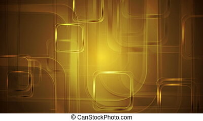 Golden glossy squares abstract geometric motion design....