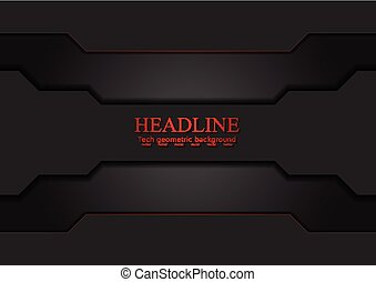 Black tech sci-fi background with red lines. Vector design