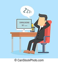 businessman fallen asleep while waiting for download