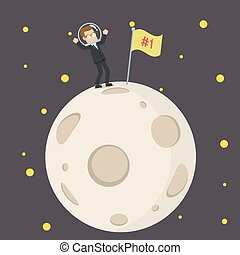businessman putting first flag at the moon