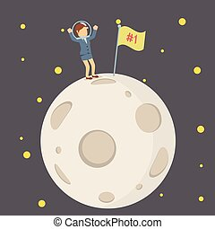 businesswoman putting first flag at the moon