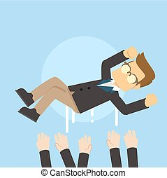 businessman beeing thrown to the air