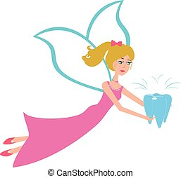 Tooth fairy flying vector - Cartoon fairy flying with...
