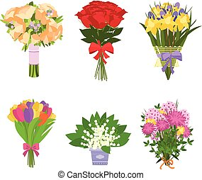 Set of flowers isolated - Flowers bouquets vector set. Set...