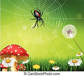 Cartoon spider with nature background - Vector illustration...