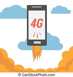 Mobile with 4G internet flying in clouds - Vector banner...