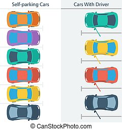 Scheme parking normal cars and self-driving ones - Vector...