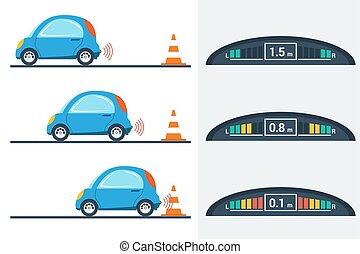 Car parktronic infographic - three positions - Vector flat...