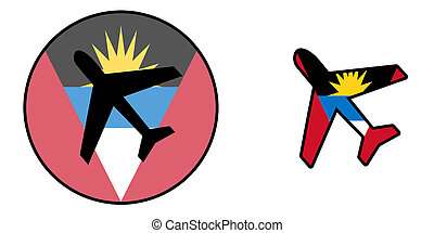 Nation flag - Airplane isolated - Antigua and Barbuda -...