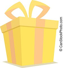 Isolated yellow gift box with ribbon packaging in vector format