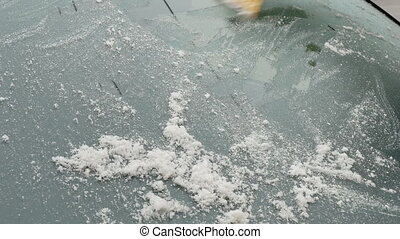 Automotive, ice cleaning from windshield