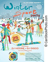 Vector winter sports party invitation. Park outside the city. Skiing, snowboarding, ice skating. Games in the open air template posters or flyers.