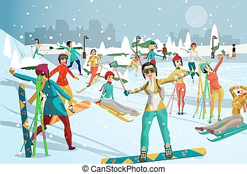 People involved in winter sports in the park outside the city. Skiing, snowboarding, ice skating. Games in the open air. Flat cartoon vector illustration
