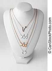 hecho, oro, molelule, collares, accesorios, forma, lujo,...