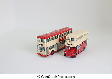 the red traditional bus isolated - the bright red...