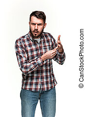 Man is looking pouter. Over white background - Man wearing a...