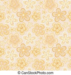 Seamless colorful retro flower background pattern in vector. Cute spring flowers hippi seamless pattern