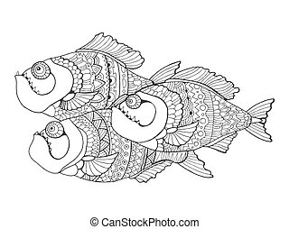 Piranha coloring book for adults vector - Piranha fish...