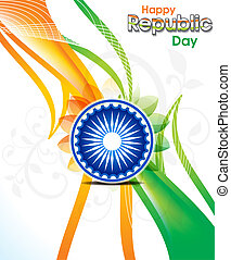 abstract indian republic day wave background with floral...