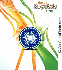 abstract indian republic day wave background with floral