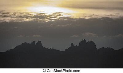 Sunset over montserrat mountains skyline - Timelapse sunset...