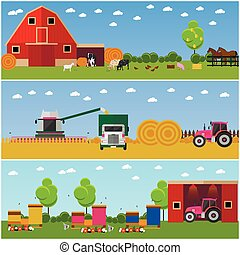 Vector illustration in flat style. Set of farming, wheat...