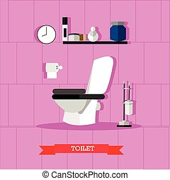 Vector poster with bathroom furniture, toilet and accessories in flat style