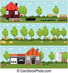 Vector set of gardening, harvesting and landscaping concept banners in flat style.