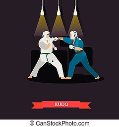 Vector poster of martial arts. Kudo. Fighters in sport...