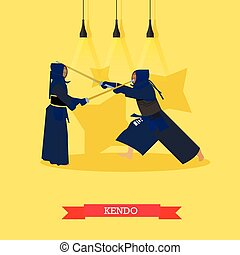 Vector poster of martial arts. Kendo. Fighters in sport...
