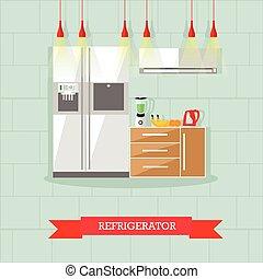 Modern kitchen interior. Vector illustration in flat style. Room furniture