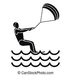 man takes part at kitesurfing icon, simple style - Man takes...