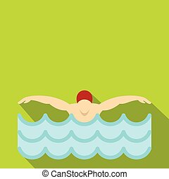 Man in red cap in swimming pool icon, flat style - Flat...