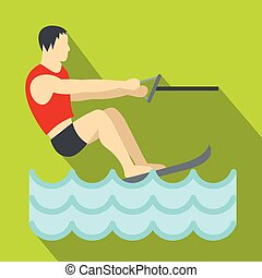 Water skiing icon, flat style - Water skiing icon. Flat...