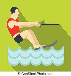 Water skiing icon, flat style - Water skiing icon. Flat...