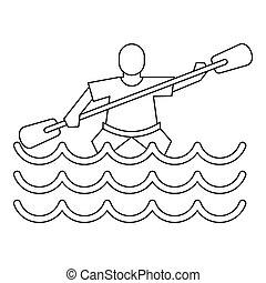 Kayak slalom icon, simple style - Kayak slalom icon. Outline...