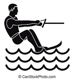 Water skiing man icon, simple style - Water skiing man icon....