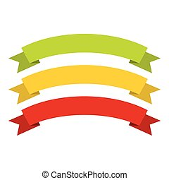 Red, yellow, green ribbons icon, flat style - Red, yellow,...