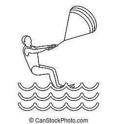 Kitesurfing icon, simple style - Kitesurfing icon. Outline...